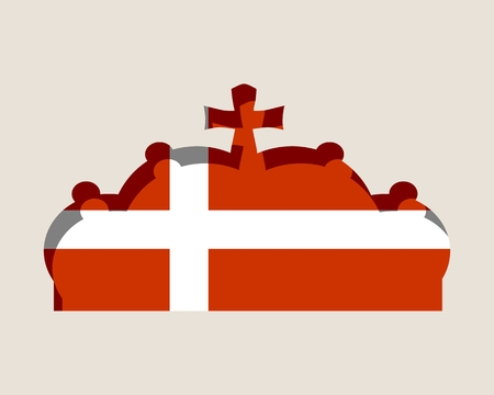 Stylized illustration of the imperial state crown. Flag of the Denmark.