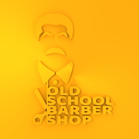 Vintage old school barber shop emblem or label. . Mustache man icon with scissors and text. 3D rendering Stock Photo