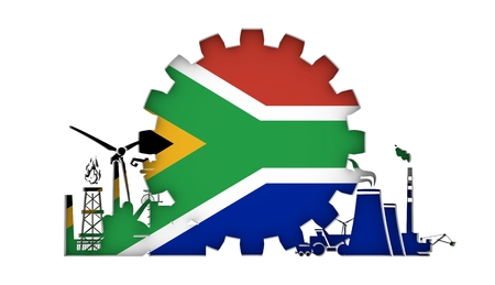 Energy and Power icons set with flag of the South Africa. Sustainable energy generation and heavy industry. 3D rendering. Imagens