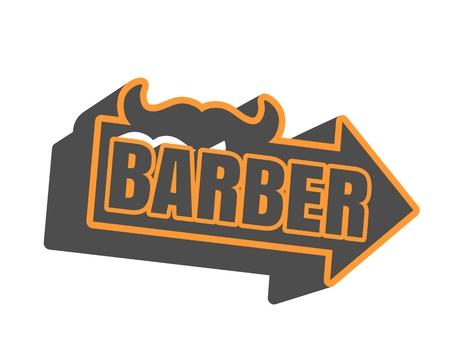grooming: Vintage barber shop emblem or label. Monochrome linear style. Mustache icon with arrow and text. 3d style design