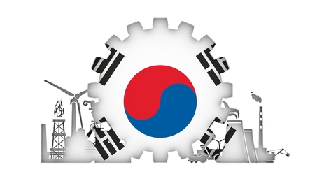 Energy and Power icons set with flag of the South Korea. Sustainable energy generation and heavy industry. 3D rendering. Stock Photo
