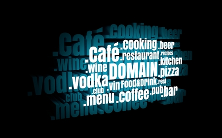 dns: Domain names words cloud relative to food and drink theme. Internet and web telecommunication concept. 3D rendering. Neon bulb illumination