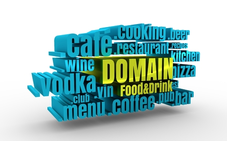 Domain names words cloud relative to food and drink theme. Internet and web telecommunication concept. 3D rendering
