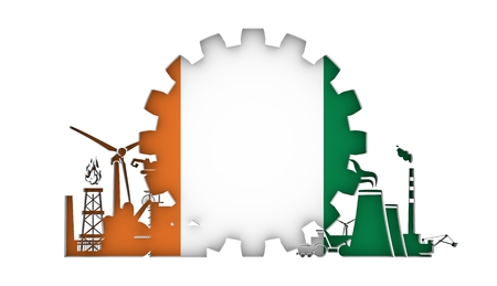 Energy and Power icons set with flag of the Ivory Coast. Sustainable energy generation and heavy industry. 3D rendering. Stock Photo