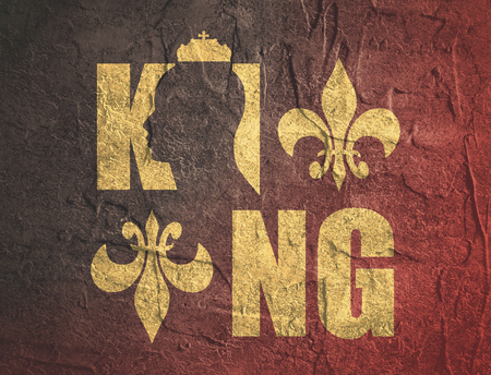 authoritative: King logo. Royal luxury emblem. Face and crown icon. Business fantasy golden badge with King word. Grunge texture effect Stock Photo