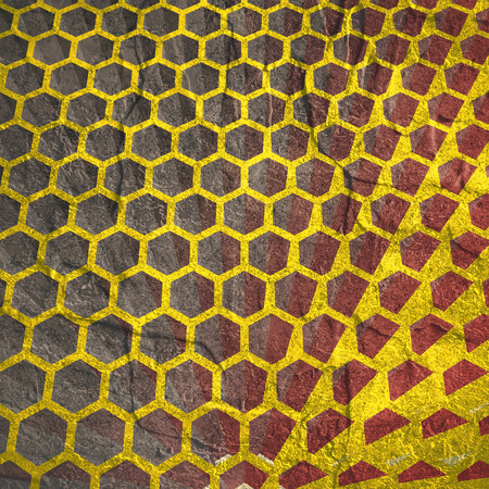 Perspective view on honeycomb. Hexagon pattern background. Isometric geometry. Grunge texture effect