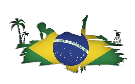 Young woman sunbathing on a beach. Cutout silhouette of the relaxing girl on a grunge brush stroke. Palm and lifeguard tower. Flag of the Brazil on backdrop. 3D rendering. Stock Photo