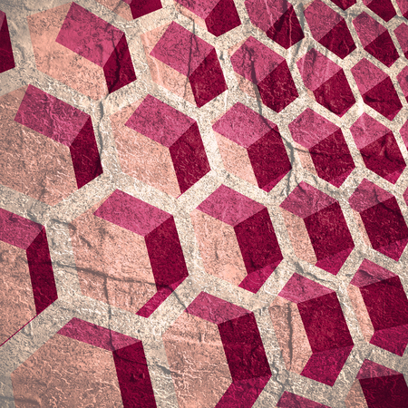 beeswax: Perspective view on honeycomb. Hexagon pattern background. Isometric geometry. Grunge texture effect