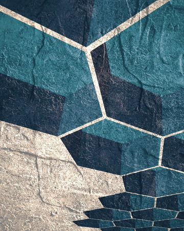 repetition: Perspective view on honeycomb. Hexagon pattern background. Isometric geometry. Grunge texture effect