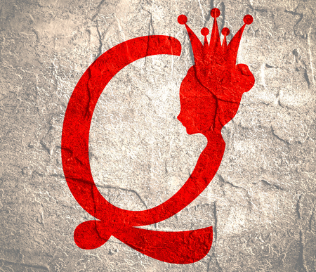 Vintage queen silhouette. Medieval queen profile. Fashion branding royal emblem with Q letter. Grunge texture effect