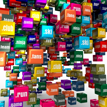 Domain names words on vibrant multicolored plastic reflective cubes. Relative to sport theme. Internet and web telecommunication concept. 3D rendering