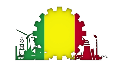 Energy and Power icons set with flag of the Mali. Sustainable energy generation and heavy industry. 3D rendering.