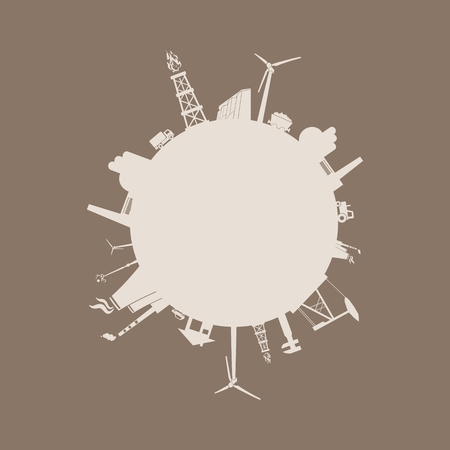 Circle with industry relative silhouettes. Vector illustration. Objects located around the circle. Industrial design background.