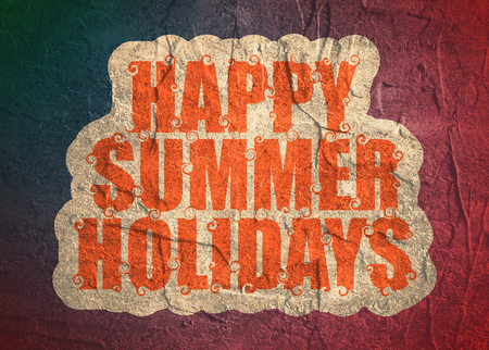 Lettering illustration with text happy summer holidays Stock Photo
