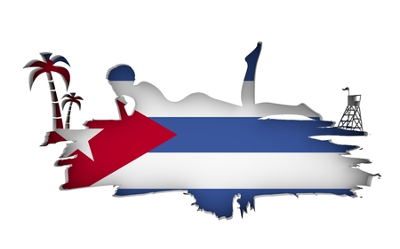 Young woman sunbathing on a beach. Cutout silhouette of the relaxing girl on a grunge brush stroke. Palm and lifeguard tower. Flag of the Cuba on backdrop. 3D rendering.