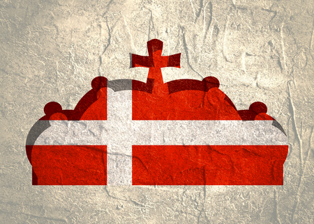 prince of denmark: Stylized illustration of the imperial state crown. Flag of the Denmark.