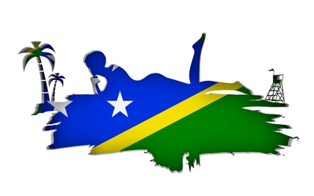 Young woman sunbathing on a beach. Cutout silhouette of the relaxing girl on a grunge brush stroke. Palm and lifeguard tower. Flag of the Solomon Islands on backdrop. 3D rendering.