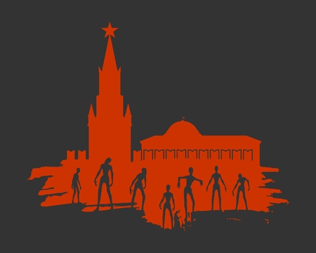 Posing zombie silhouettes set at the Moscow Kremlin. Halloween theme background