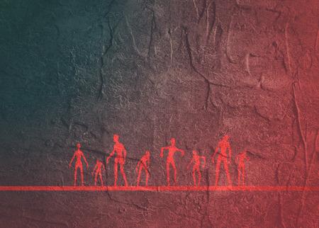 Posing zombie silhouettes set. Halloween theme background