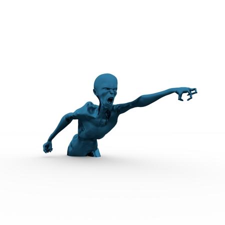 Posing horrified zombie. Dark blue metallic material skin. 3D rendering