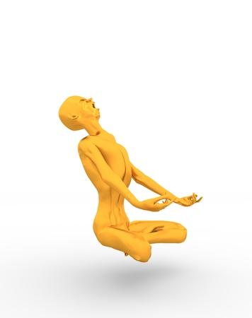 Posing horrified zombie. Golden metallic material. Undead man sit in meditation pose. 3D rendering.