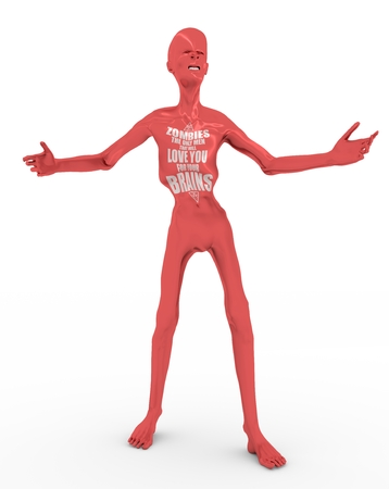 Posing horrified zombie. Zombies the only men that will love you for your brains text . 3D rendering Stock Photo