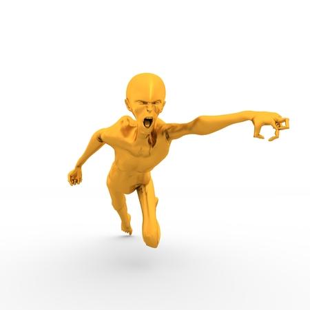 Posing horrified zombie. Golden metallic material. 3D rendering