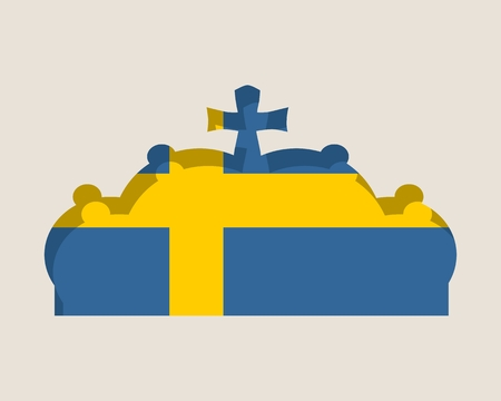 Stylized illustration of the imperial state crown. Flag of the Sweden. Illustration