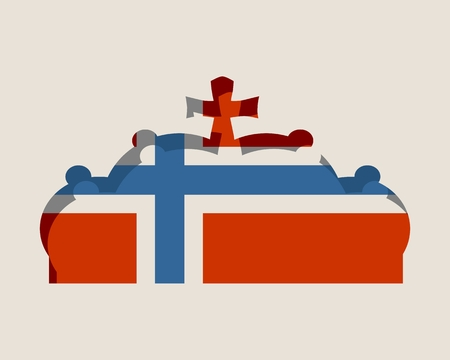 Stylized illustration of the imperial state crown. Flag of the Norway.