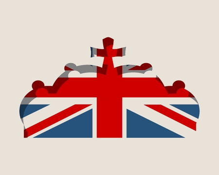 Stylized illustration of the imperial state crown. Flag of the Great Britain. Illustration
