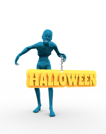 Posing horrified zombie. Halloween text on billboard. 3D rendering