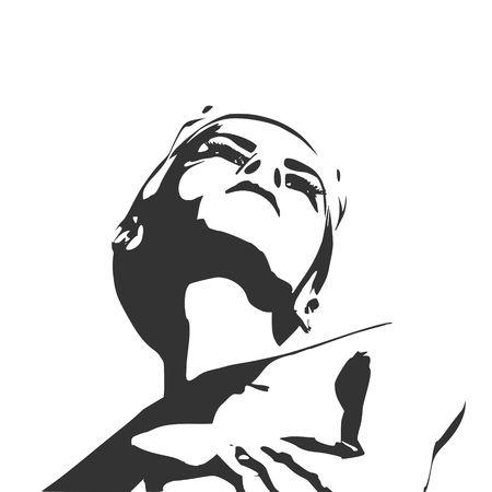 Naked young woman. Vector illustration. Female torso sketch Illustration