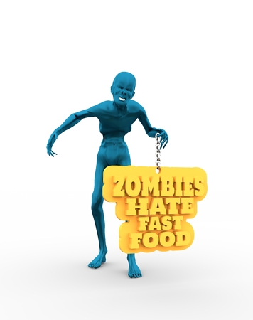 Posing horrified zombie. Zombies hate fast food text on billboard. 3D rendering