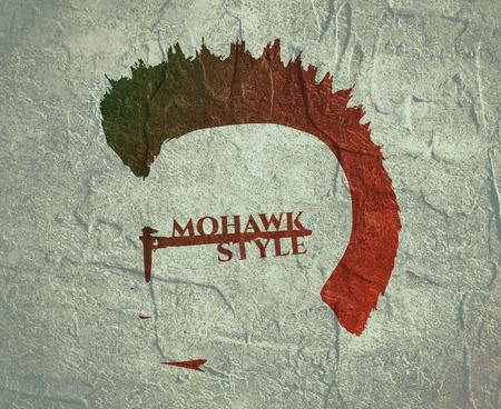 Vue du profil de l'avatar de Man. Silhouette ou icône isolée masculine. Mohawk coiffure. Portrait avec lunettes de soleil Banque d'images - 83295539