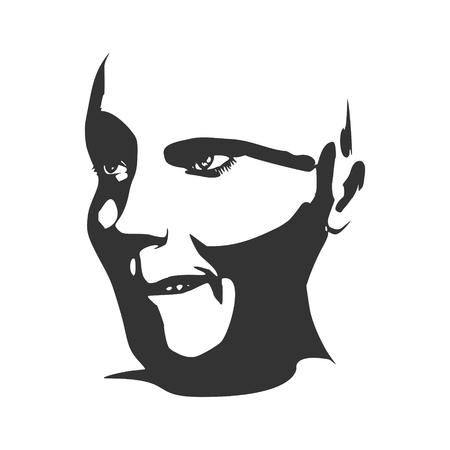 calavera caricatura: Ilustración del vector de la expresión de las emociones humanas. Aislado avatar de la cara de las expresiones. Ilustración emocional de la cabeza. Vectores