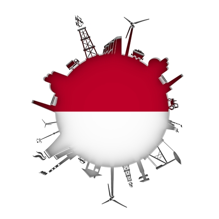 Circle with industry relative silhouettes. Objects located around the circle. Industrial design background. Flag of Indonesia in the center. 3D rendering.