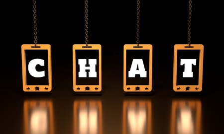 touch screen phone: Chat text on abstract phone screen hanging from a chain. 3D rendering