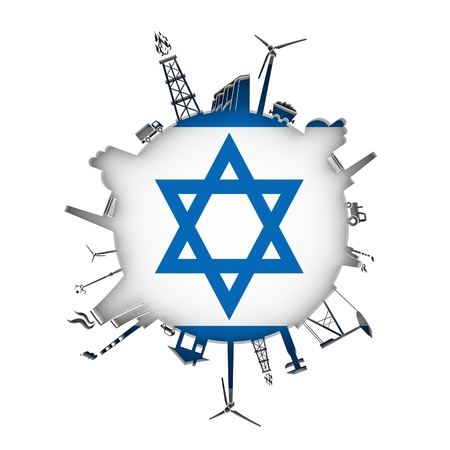 Circle with industry relative silhouettes. Objects located around the circle. Industrial design background. Flag of Israel in the center. 3D rendering.