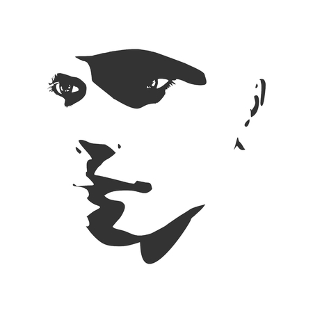 Face half turn view. Elegant silhouette of a female head. Vector Illustration. Monochrome gamma. Illustration