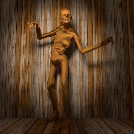Posing horrified zombie. Wooden planks background. 3D rendering