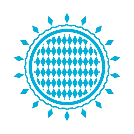 Oktoberfest bavarian traditional blue and rhombus texture in round shape stamp.