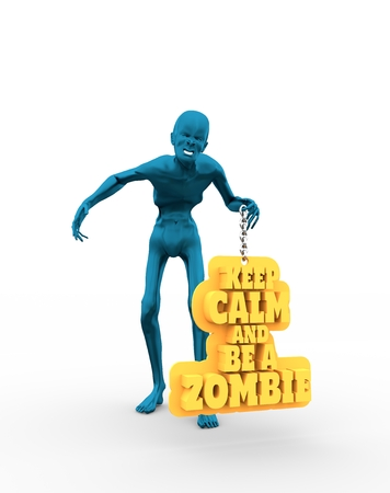Posing horrified zombie. Keep calm and be a zombie text on billboard. 3D rendering 写真素材