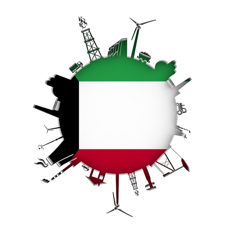 Circle with industry relative silhouettes. Objects located around the circle. Industrial design background. Flag of Kuwait in the center. 3D rendering. Stock Photo