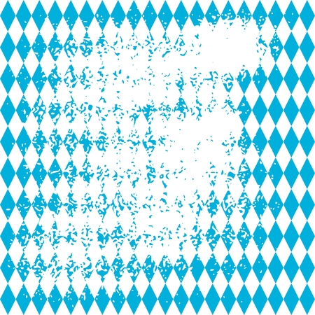 Oktoberfest bavarian traditional blue and rhombus background pattern. Grunge distress texture. Illustration