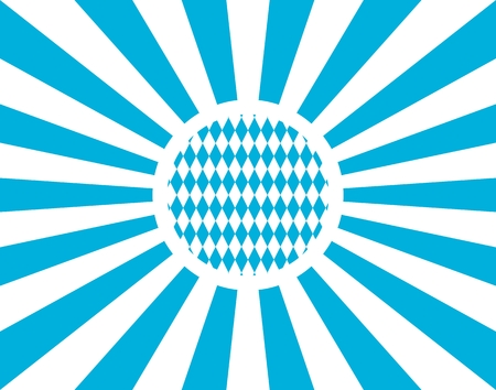 Oktoberfest bavarian traditional blue and rhombus background pattern. Blue radial sun rays