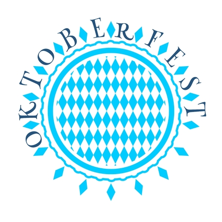 Octoberfest bavarian traditional blue and rhombus texture in round shape stamp. Oktoberfest text