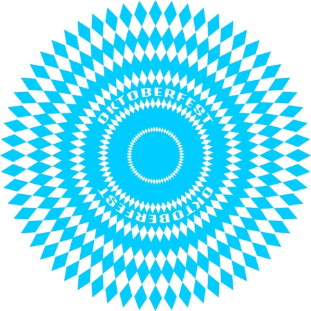 Oktoberfest bavarian traditional blue and rhombus background pattern. Circles from diamonds
