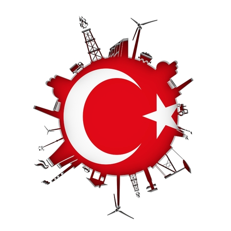 Circle with industry relative silhouettes. Objects located around the circle. Industrial design background. Flag of Turkey in the center. 3D rendering. Stock Photo
