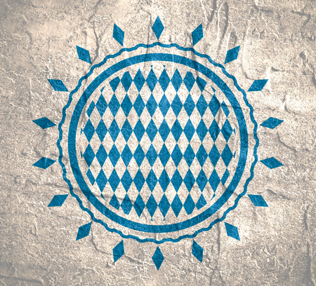 repeated: Oktoberfest bavarian traditional blue and rhombus texture in round shape stamp. Grunge distress texture.
