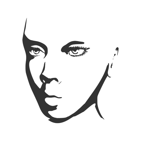 simple girl: Face half turn view. Elegant silhouette of a female head. Vector Illustration. Monochrome gamma. Illustration